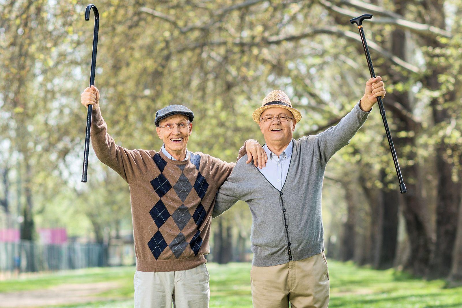 Two elderly gentlemen with canes gesturing happiness outdoors